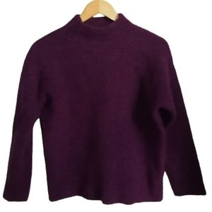 COS Winter Purple Cropped Boiled Wool Knitted Mock Neck Sweater Size Medium